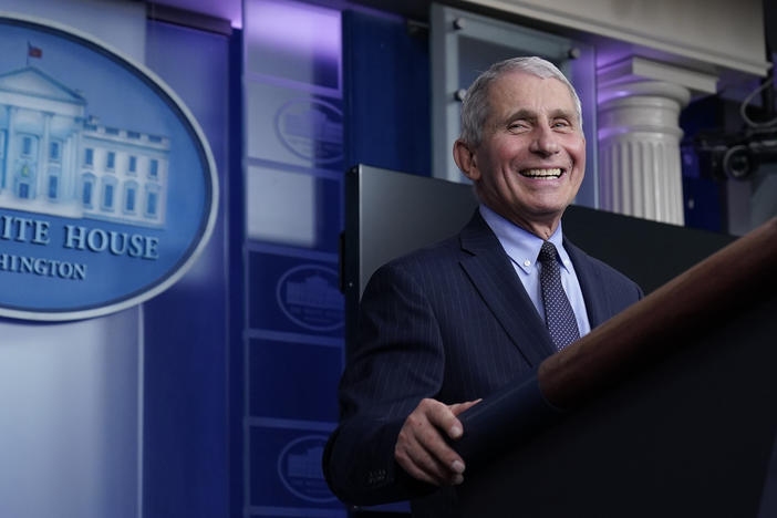 "Dr. Anthony Fauci laughs while speaking at a White House briefing on Thursday. Fauci, President Biden's chief medical adviser on COVID-19, says he rejoiced when the new president declared that ""science and truth"" would guide the nation's policies toward the pandemic."