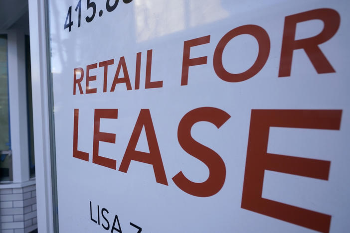A sign noting a retail space is available for lease is shown in San Francisco on Dec. 7, 2020. A resurgence in the pandemic likely dealt a major blow to the U.S. economy in the fourth quarter.