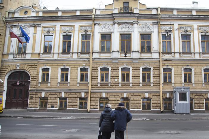The Polish Consulate in St. Petersburg, Russia, is pictured in 2015. Russia said on Friday it had expelled diplomats from Poland, Germany and Sweden over their alleged participation in a pro-Navalny demonstration.