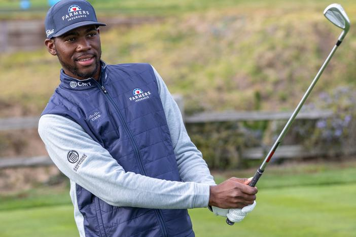 Kamaiu Johnson practices ahead of his PGA Tour debut on Thursday at legendary Pebble Beach. Johnson, 27, was discovered by a golf pro at age 13 after he had dropped out of school.
