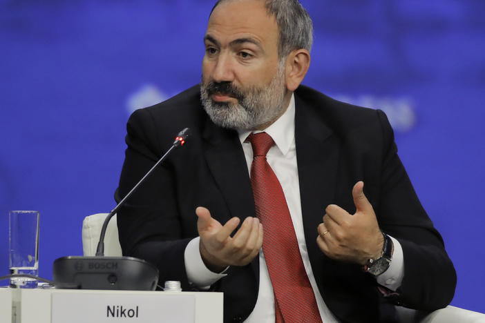 Armenian Prime Minister Nikol Pashinyan speaking at the St. Petersburg International Economic Forum in St. Petersburg, Russia, in 2019.