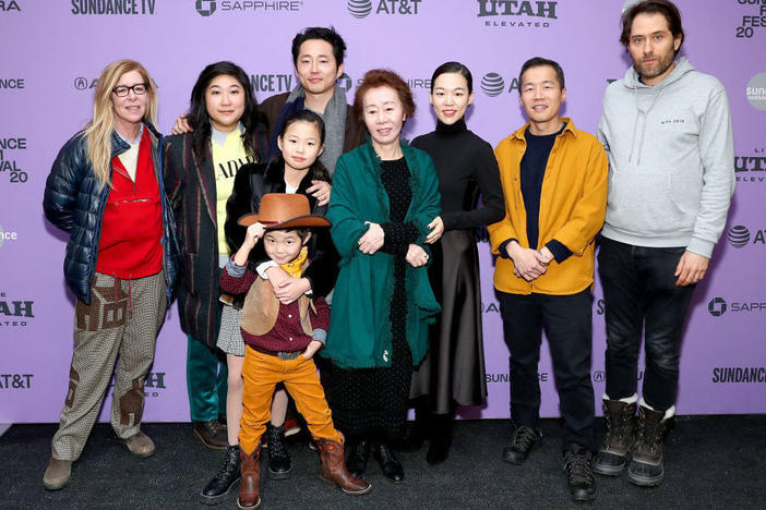 The cast and crew of <em>Minari</em> attends the 2020 Sundance Film Festival film premeire at Library Center Theater on Jan. 26, 2020 in Park City, Utah. Chung is second from the right.