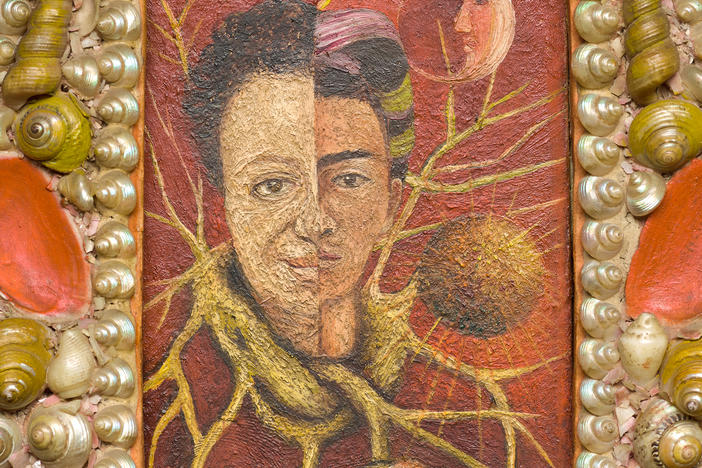 Frida Kahlo,<em> Diego and Frida 1929 – 1944,</em> 1944, oil on masonite with original painted shell frame, private collection, courtesy Galería Arvi
