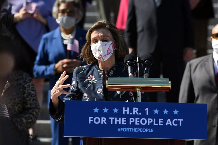 House Speaker Nancy Pelosi, D-Calif., speaks at an event for the For the People Act on the steps of the U.S. Capitol on Wednesday.