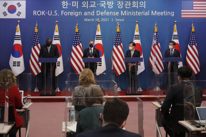 U.S. Secretary of State Antony Blinken (second from left) speaks as U.S. Defense Secretary Lloyd Austin (left), South Korean Foreign Minister Chung Eui-yong (second from right), and South Korean Defense Minister Suh Wook, right, listen during the joint press conference after their meeting Thursday at the Foreign Ministry in Seoul, South Korea.
