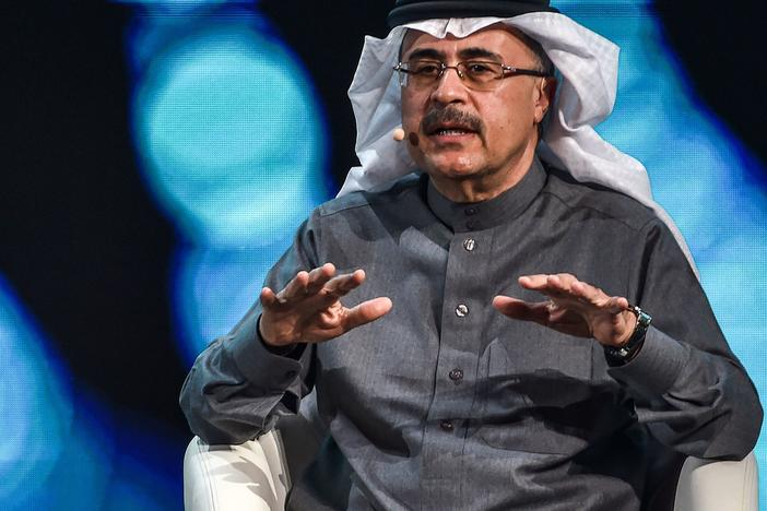 Amin Nasser, president and chief executive officer of Saudi Aramco, speaks during the fourth edition of the Future Investment Initiative conference at the Ritz-Carlton hotel on Jan. 27, in Riyadh, Saudi Arabia.