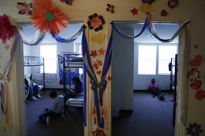 A 2019 photo shows a U.S. government holding center for migrant children in Carrizo Springs, Texas. The facility was reopened by the Biden administration and an independent TV camera is being allowed in to capture new images of conditions there on Wednesday.