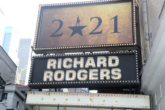 "A sign of the ""Hamilton"" marquee at New York City's Richard Rogers Theater on Mar. 12, 2021, commemorating Broadway's ""lost year"" and a hope to return to live performances by fall 2021."