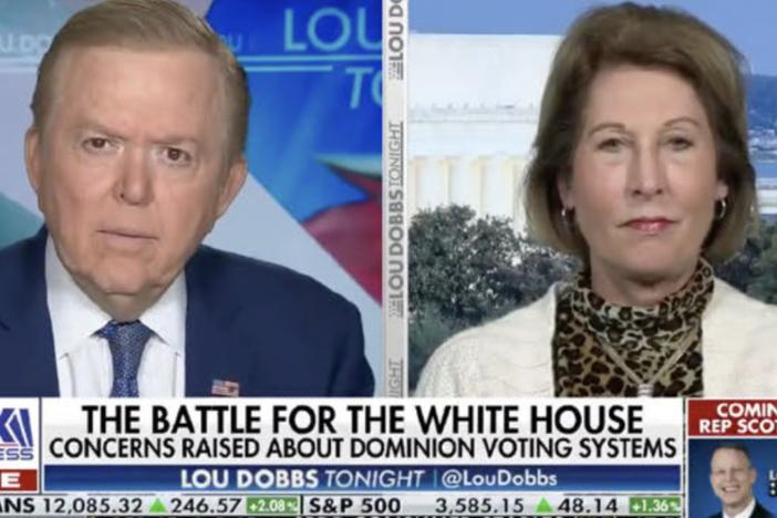 "A lawsuit from Dominion Voting Systems highlights election claims that Trump attorney Sidney Powell made on Lou Dobbs' Fox Business program. The suit includes a photo of one appearance that bore the on-screen headline, ""The Battle for the White House: Concerns Raised about Dominion Voting Systems."""