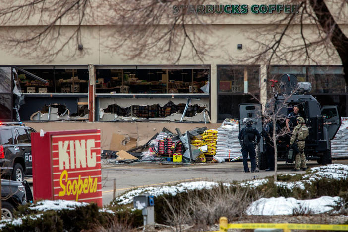 Tactical police units respond to the scene of a King Soopers grocery store after a shooting on March 22, 2021 in Boulder, Colorado.