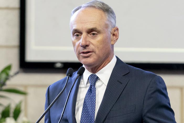 "Major League Baseball Commissioner Rob Manfred, pictured in January, on Friday said the organization unwaveringly supports ""fair access to voting."""