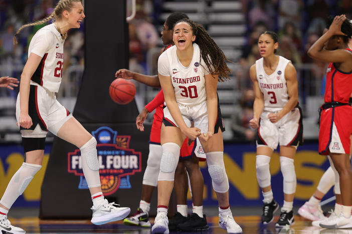 Haley Jones #30 of the Stanford Cardinal celebrates a win against the Arizona Wildcats in the national championship game of the 2021 NCAA Women's Basketball Tournament on Sunday in San Antonio.
