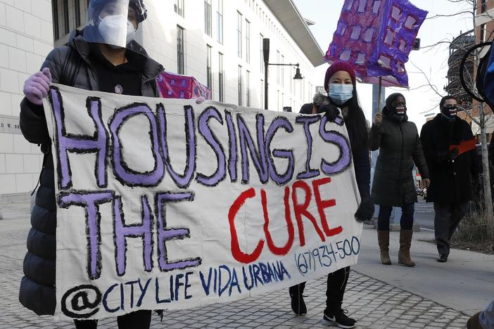 The Texas Supreme Court has allowed an emergency order to expire. Housing groups warn that this could result in thousands of people losing their homes to eviction. Tenants' rights advocates, like those pictured here in Boston, have pushed for stronger protections for renters during the pandemic.