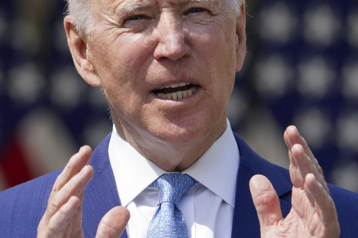 The White House has unveiled a $1.5 trillion budget outline for fiscal year 2022, including $2.1 billion for gun violence prevention. Above, President Biden speaks about gun violence in the Rose Garden on Thursday.