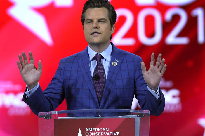 U.S. Rep. Matt Gaetz, R-Fla., seen here at the Conservative Political Action Conference in February, confirms he's under investigation by the Justice Department but denies the allegations tied to the inquiry.