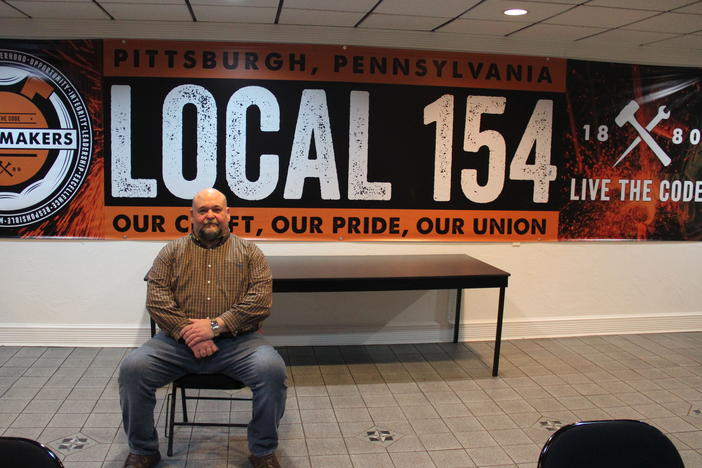Shawn Steffee is business agent at Boilermakers Local 154 in Pittsburgh, and worries a transition to clean energy could cost him pay and hurt his pension.