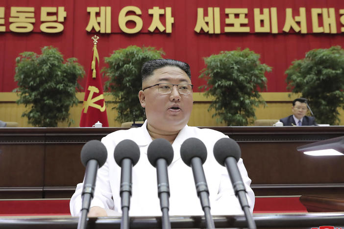 "North Korean leader Kim Jong Un delivers a speech in Pyongyang on April 8. On Sunday, the North Korean government said President Biden made a ""big blunder"" last week when he called North Korea's and Iran's nuclear programs a security threat."