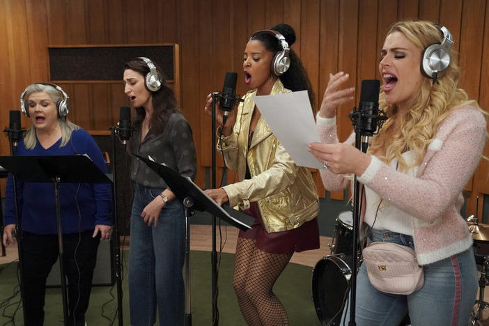 The ladies of <em>Girls5eva</em>: Gloria (Paula Pell), Dawn (Sara Bareilles), Wickie (Renée Elise Goldsberry), and Summer (Busy Philipps).