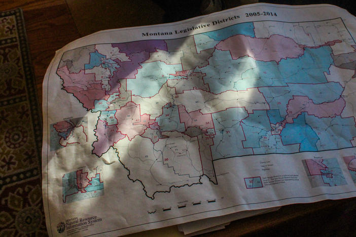 "Joe Lamson, a Democrat on Montana's districting commission, is particularly fond of this map showing the state's legislative districts as drawn in the early 2000s. Lamson says Montana historian Harry Fritz called it, ""The best map drawn in Montana since Lewis and Clark came through."""