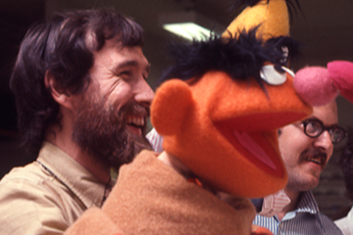 Jim Henson, the puppeteer behind Ernie, and Frank Oz, the longtime voice of Bert, on the set of <em>Sesame Street</em>.
