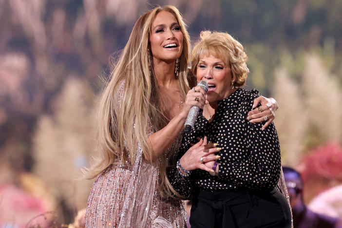 "Jennifer Lopez and her mother Guadalupe Rodríguez perform onstage during Global Citizen's ""Vax Live: The Concert To Reunite The World,"" at SoFi Stadium in Inglewood, Calif."