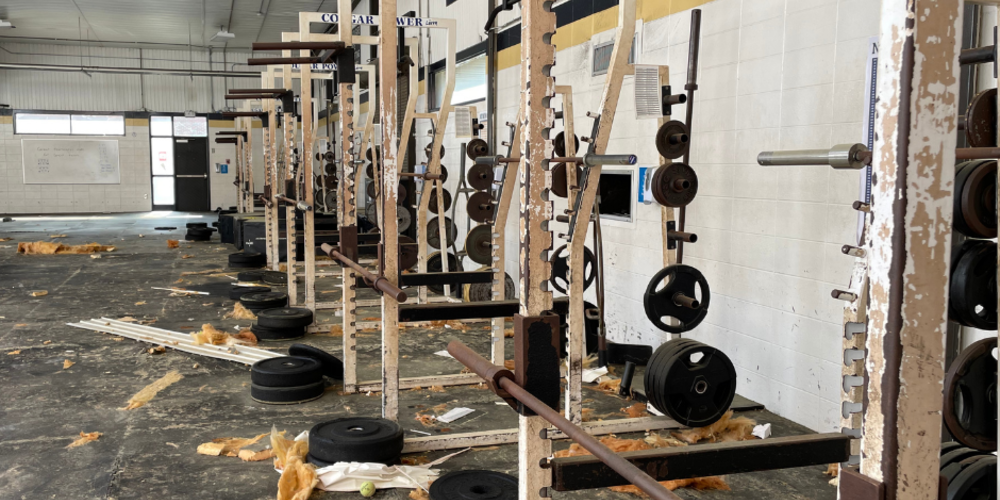 Damage done to Newnan High School's weight room after devastating tornado.